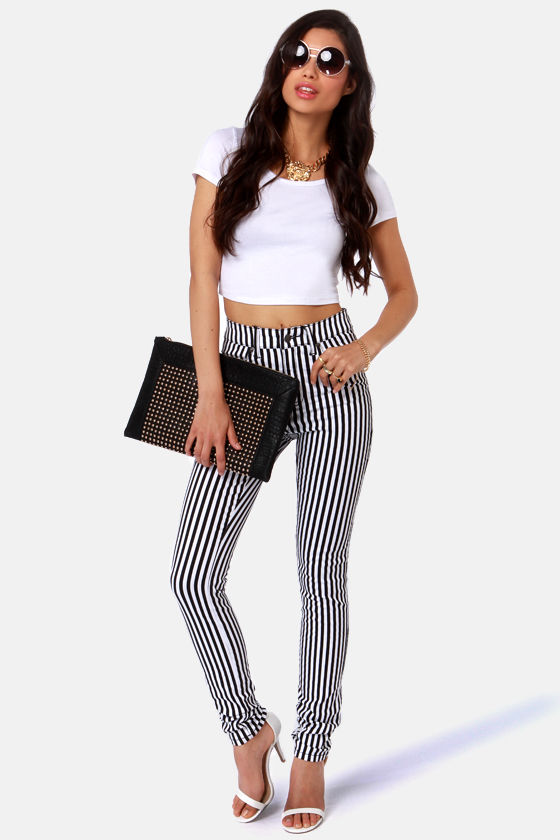 Tripp NYC Striped Black and White Striped Skinny Jeans at Lulus.com!