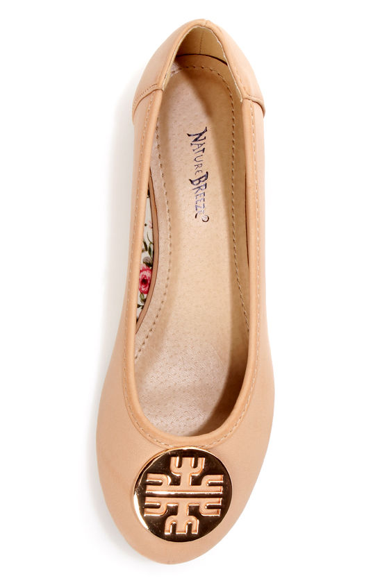 Leila 35 Beige Medallion Ballet Flats at Lulus.com!