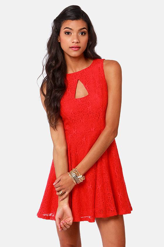 BB Dakota by Jack Kerr Red Lace Dress at Lulus.com!