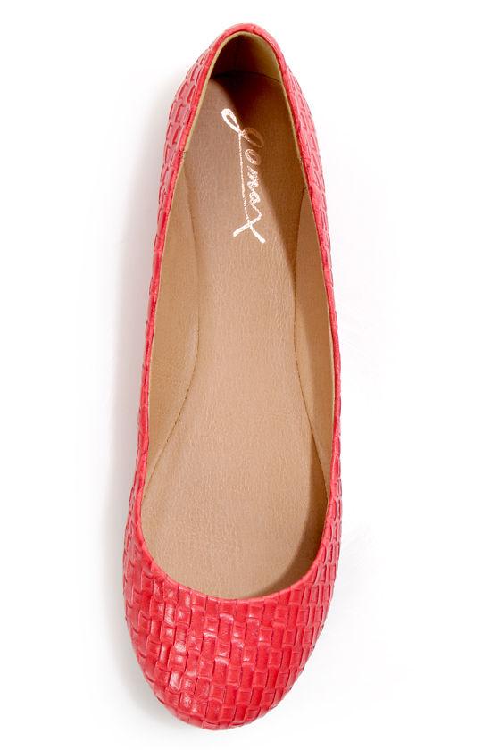 GoMax Sienna 22X Red Basketweave Ballet Flats at Lulus.com!