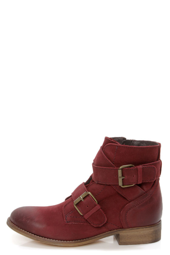 b12300a1bdde Steve Madden Teritory Burgundy Buckled Ankle Boots -  145.00