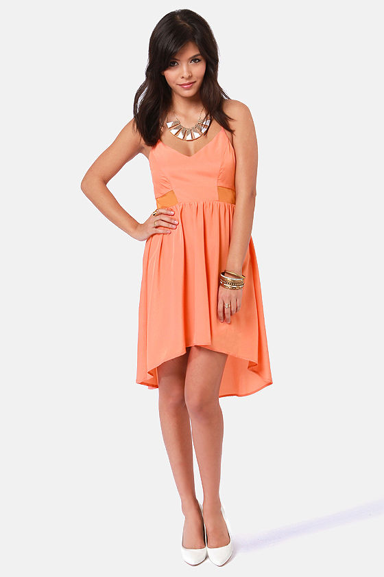 Huntingbird Fly With Me Orange High-Low Dress at Lulus.com!