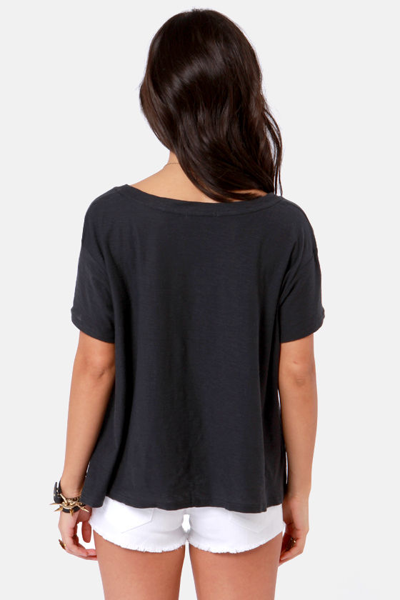 Billabong Moon Dance Charcoal Grey Print Tee at Lulus.com!