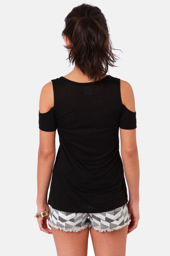 Tee Party Cutout Black Top at Lulus.com!