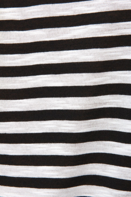Fan Lines Black and White Striped Tank Top at Lulus.com!