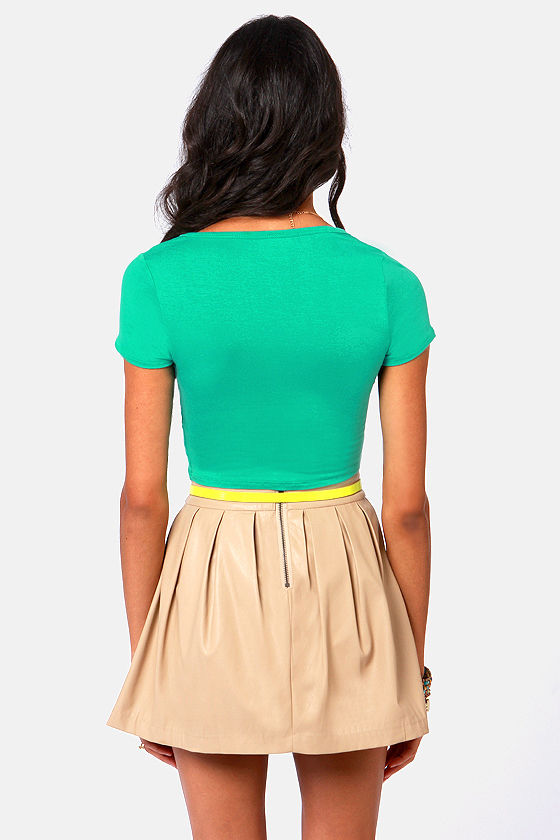 Jersey Devil Sea Green Crop Tee at Lulus.com!