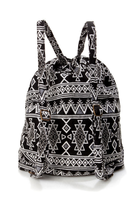 Billabong Sandy Streets Black and White Print Backpack at Lulus.com!
