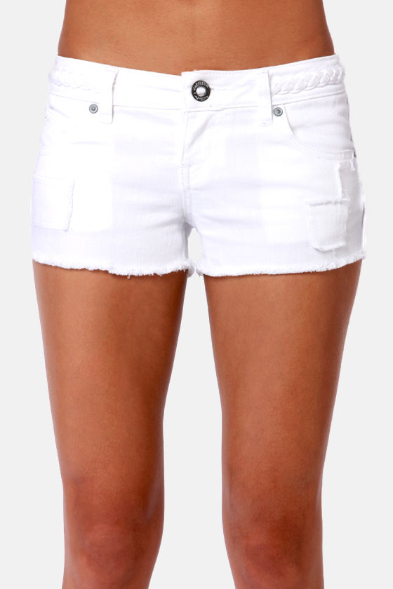 Volcom High Voltage White Jean Shorts at Lulus.com!