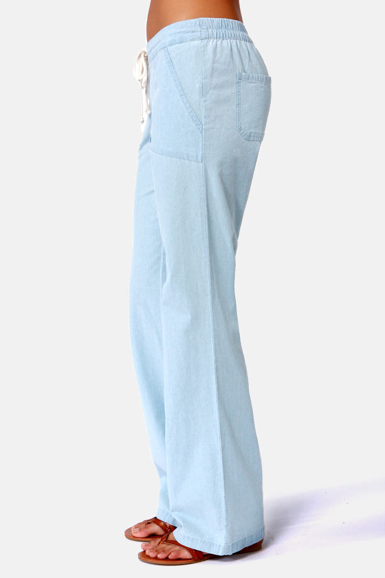 Volcom Ride Easy Light Blue Wide-Leg Pants at Lulus.com!