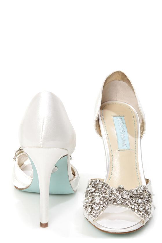 61d738c1966 Betsey Johnson SB-Gown Ivory Satin Rhinestone Bow Peep Toe Heels