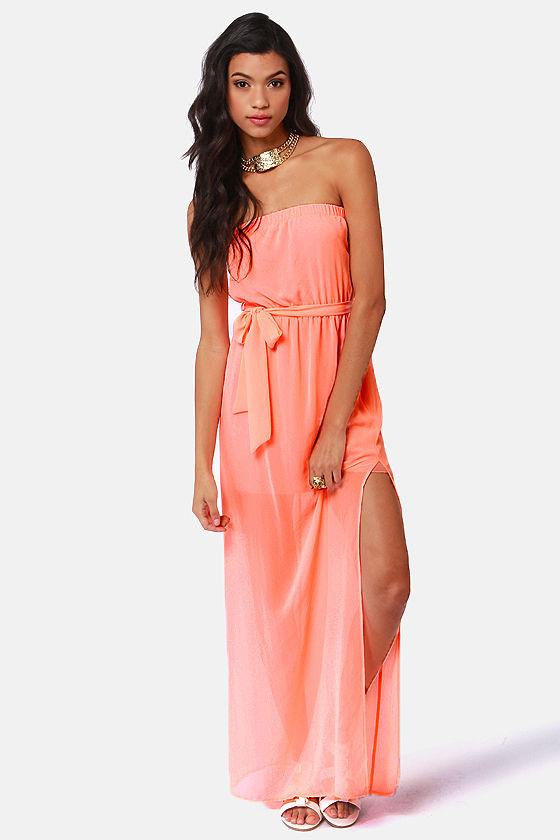 Cute Maxi Dress Neon Coral Dress Strapless Dress 41 00
