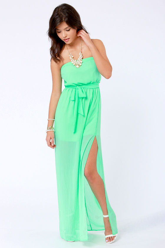 Cute Maxi Dress - Spring Green Dress - Strapless Dress - $41.00