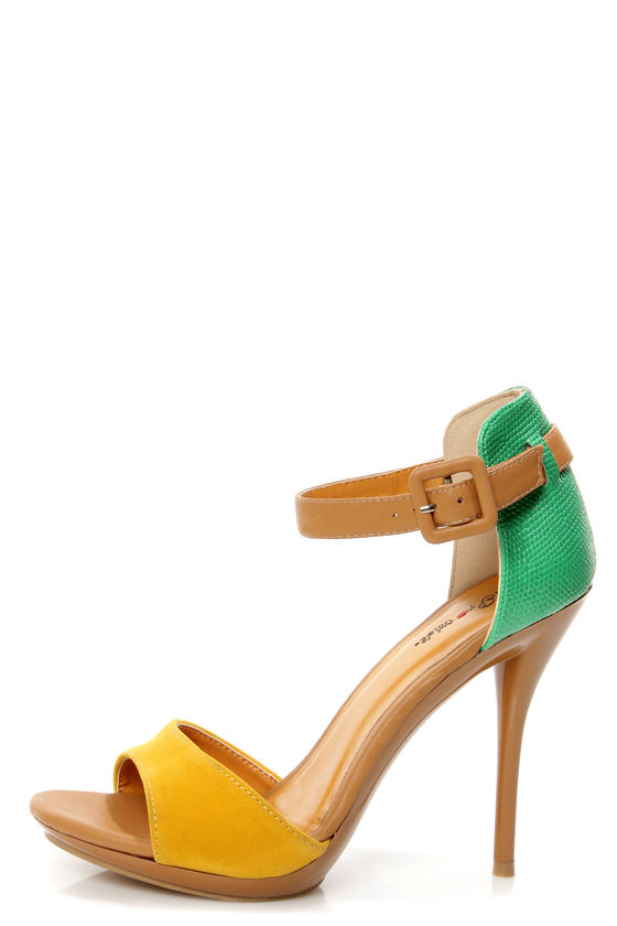 Promise Quillan Yellow and Green High Heel Sandals - $35.00