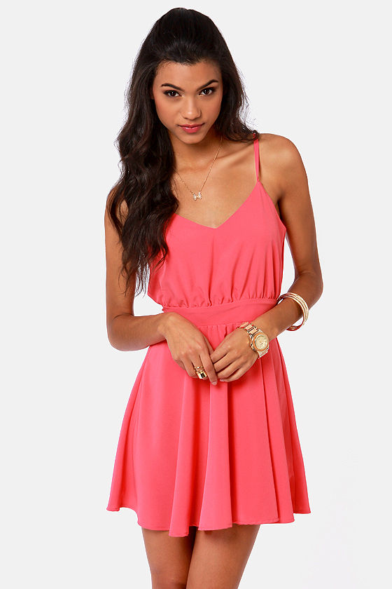 Lucy Love Penelope Dress - Coral Pink Dress - Backless Dress - $75.00