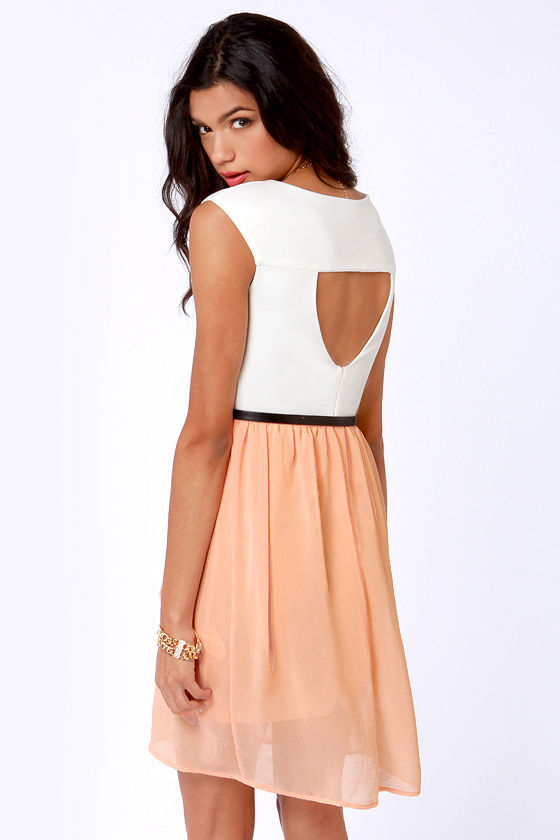 Belt of the Ball Peach and Ivory Belted Dress at Lulus.com!
