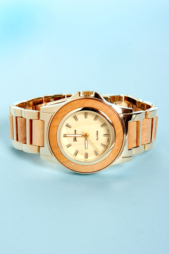 Wood-a Coulda Shoulda Gold and Wood Watch at Lulus.com!