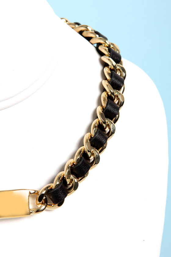 Under the Leather Black and Gold ID Necklace at Lulus.com!