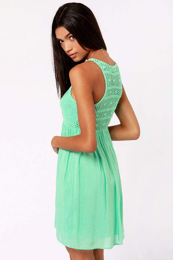 Crochet There! Mint Green Crochet Dress at Lulus.com!