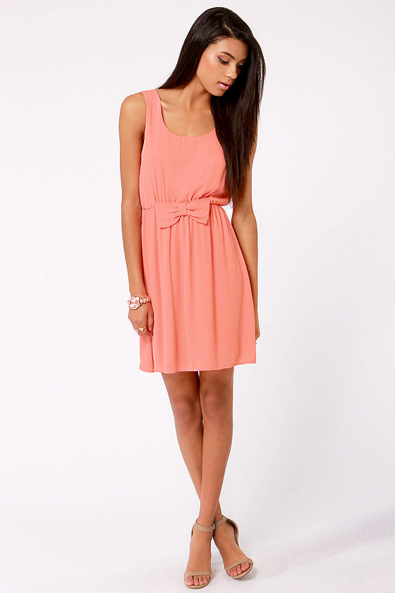 Sup-Bows-ed To Do Coral Dress at Lulus.com!