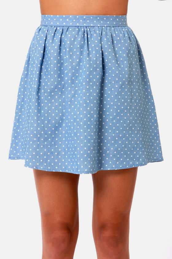 Way Down to Polka-mo Chambray Polka Dot Skirt at Lulus.com!