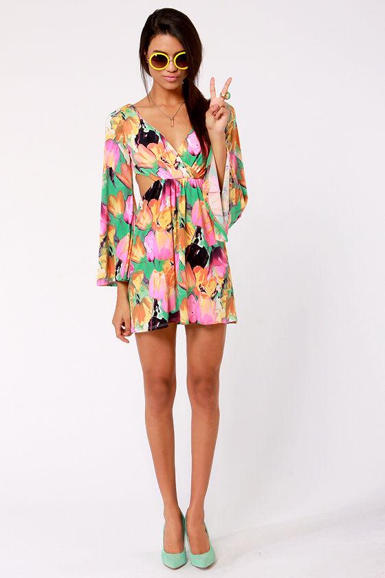 8a0f17c552e Sexy Cutout Dress - Floral Dress - Print Dress - Long Sleeve Dress ...