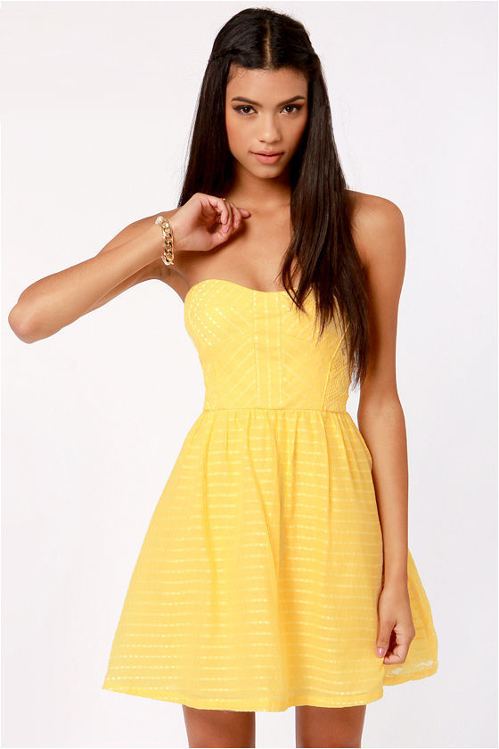 Cute Yellow Dress - Strapless Dress - Fit and Flare Dress - $80.00