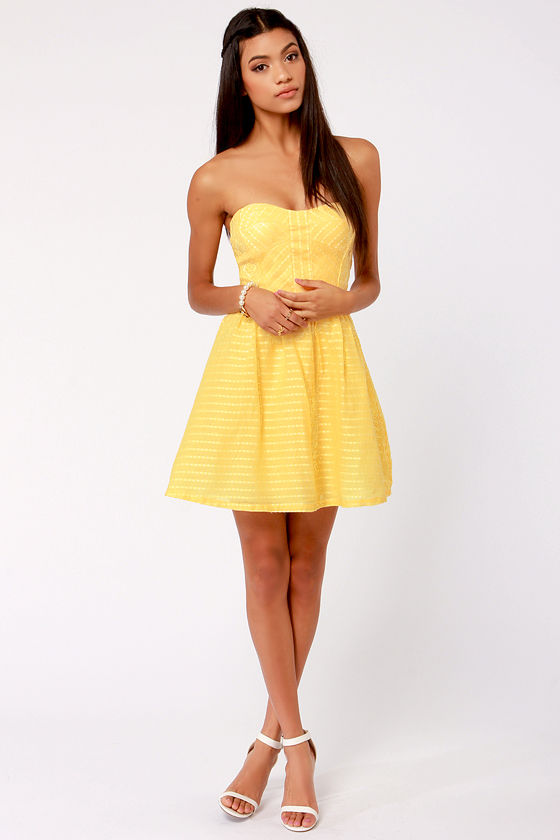 Cute Yellow Dress - Strapless Dress - Fit