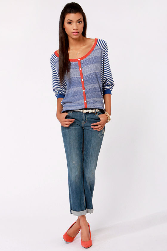Lavand Ship Shape Blue and White Striped Sweater at Lulus.com!