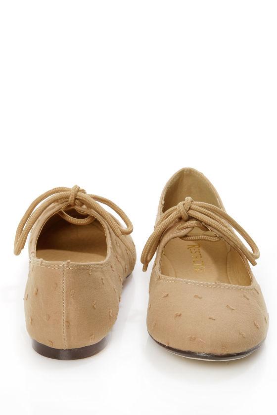 9c91a9de3 Restricted Scrabble Tan Swiss Dot Lace-Up Ballet Flats - $38.00