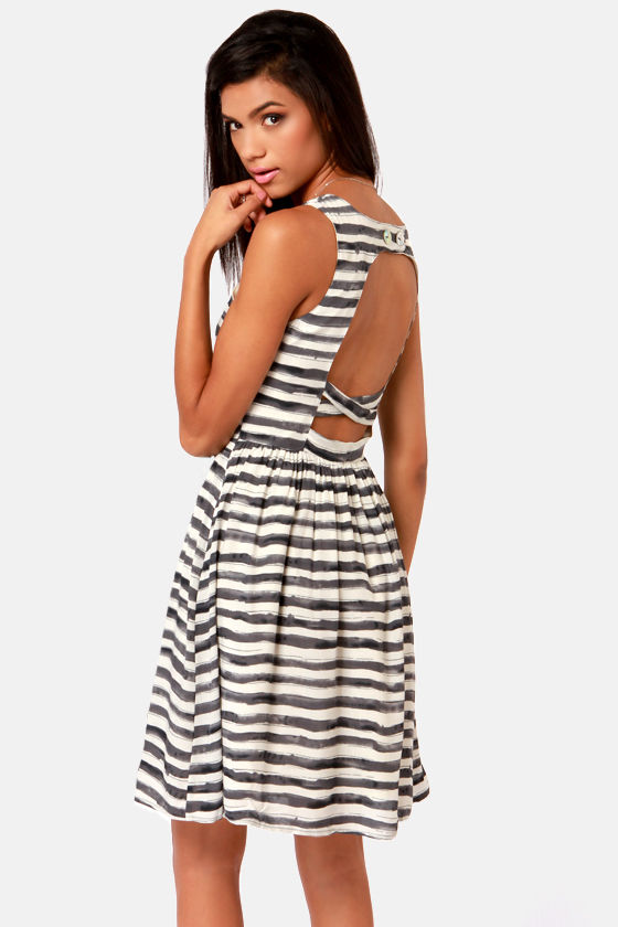 Lavand Watercolor Cute-orial Grey and Ivory Striped Dress at Lulus.com!