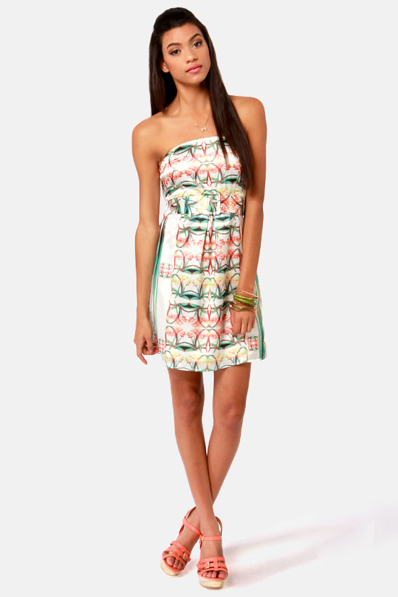 Lavand Pina Kaleid-a Strapless Floral Print Dress at Lulus.com!