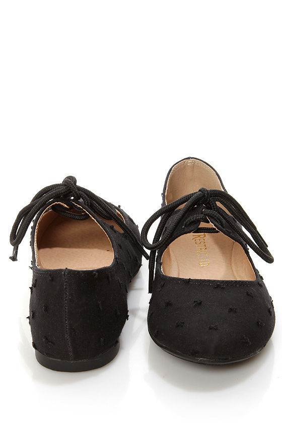 00ae927d4 Restricted Scrabble Black Swiss Dot Lace-Up Ballet Flats - $38.00