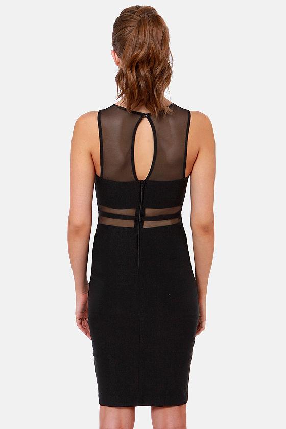 Mesh Who? Cutout Black Midi Dress at Lulus.com!