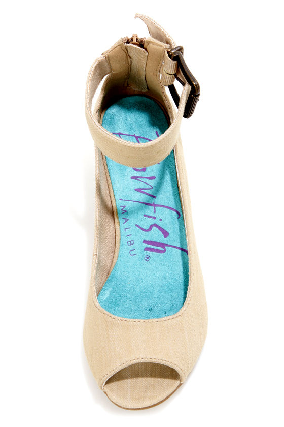 Blowfish Cricket Bark Street Denim Peep Toe Wedges at Lulus.com!