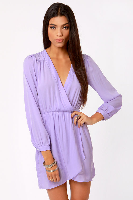 That's A Wrap Lavender Long Sleeve Dress by Lulu's