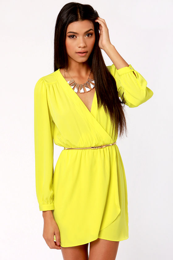 Cute Neon Yellow Dress - Wrap Dress - Long Sleeve Dress - $49.00