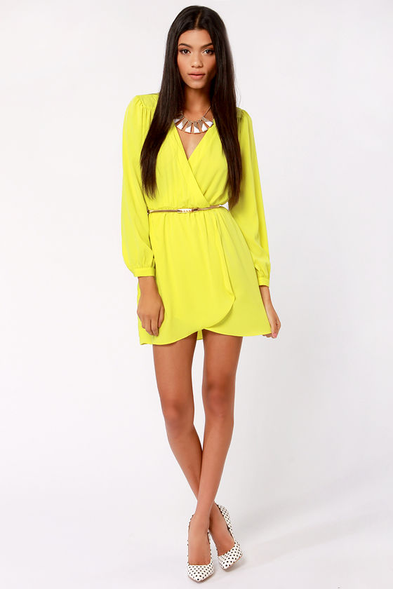 Cute Neon Yellow Dress - Wrap Dress - Long Sleeve Dress - $49.00