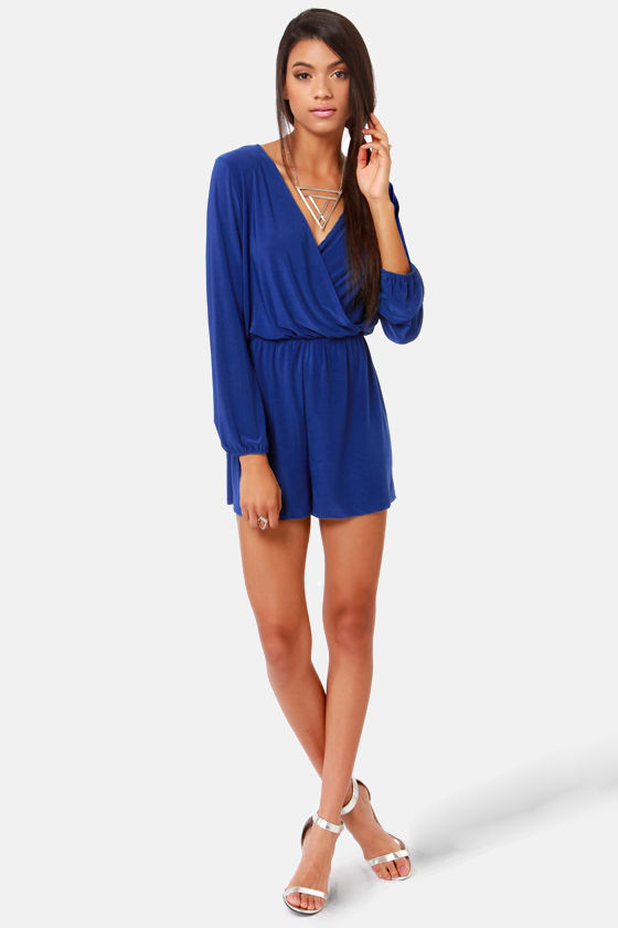 cec108c5e853 Cute Royal Blue Romper - Long Sleeve Romper -  48.00