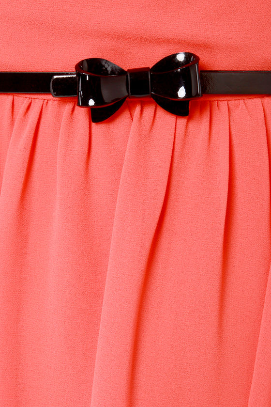 Cinnamon City Belted Coral Red Dress at Lulus.com!