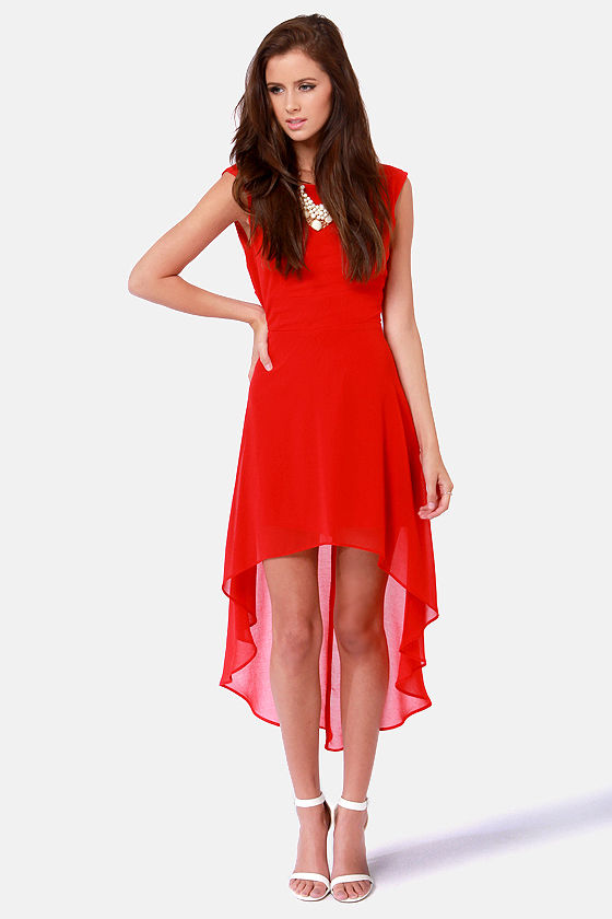 LULUS Exclusive Cross My Hot Red High-Low Dress at Lulus.com!