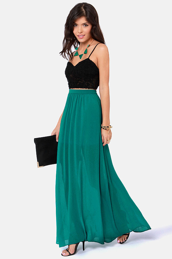 Floor de Lis Teal Maxi Skirt at Lulus.com!