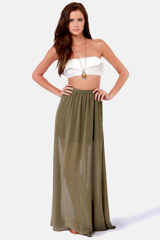 Gorgeous Olive Green Skirt - Maxi Skirt - $41.00