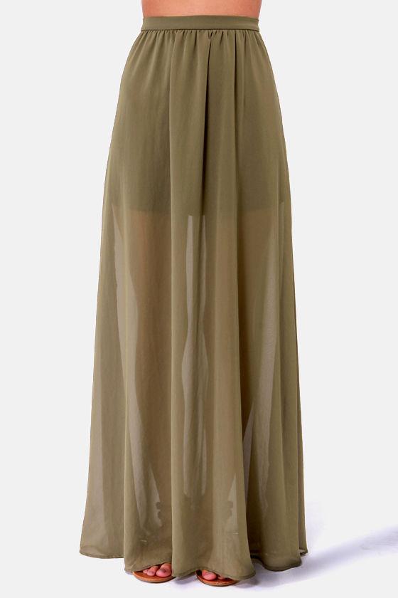 Gorgeous Olive Green Skirt - Maxi Skirt - $41.00