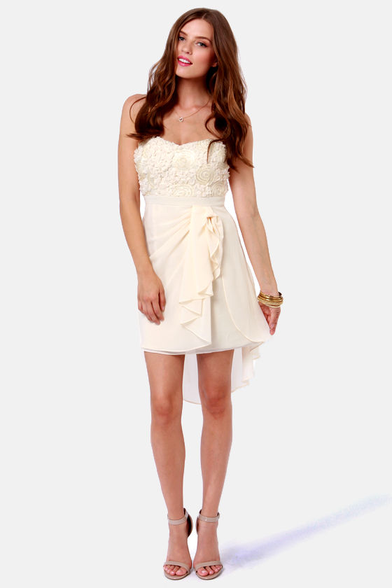 Sash-a-frass Strapless Cream Dress at Lulus.com!
