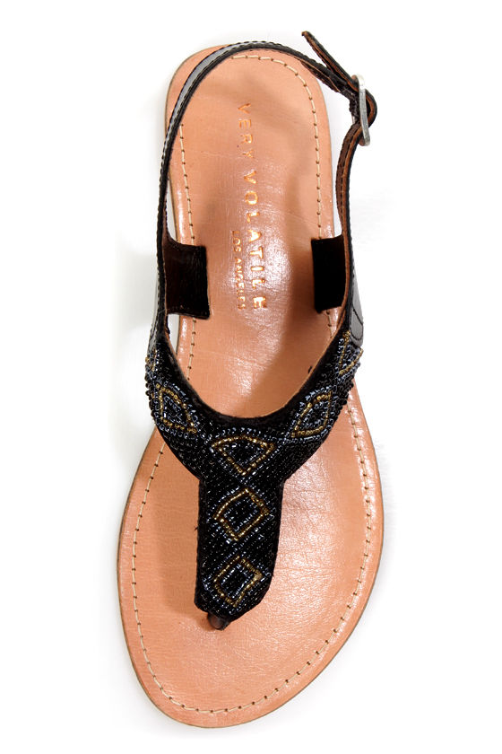 Very Volatile Toledo Black Beaded T-Strap Thong Sandals at Lulus.com!
