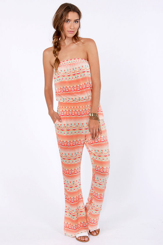 Volcom Quincy Davis Orange Print Jumpsuit at Lulus.com!