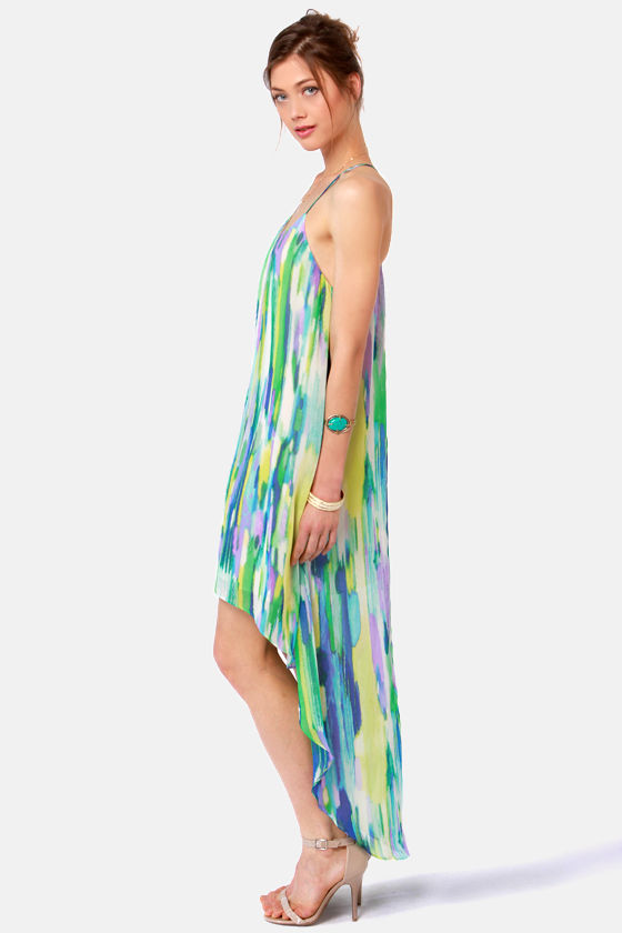 Streak Smart High-Low Print Dress at Lulus.com!