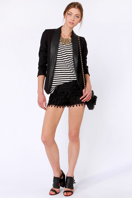 Thrilled to Bits Black Lace Shorts at Lulus.com!