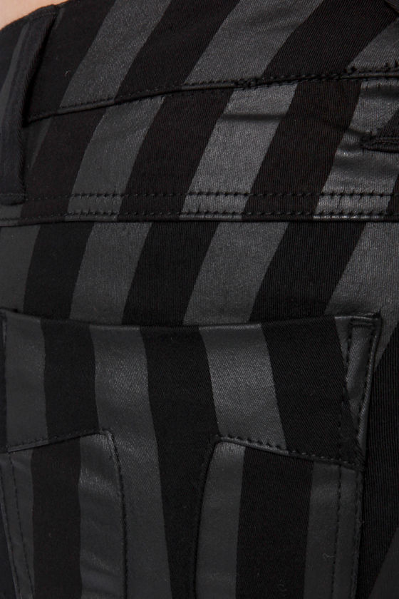 Tripp NYC Wide Stripe Black Over Black Striped Skinny Jeans at Lulus.com!