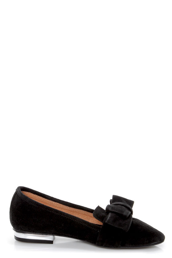 Sixtyseven Kaci 74463 Serraje Black Bow-Topped Smoking Loafers at Lulus.com!